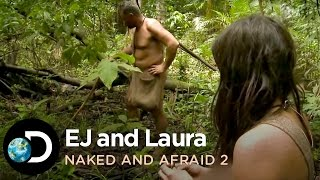 getlinkyoutube.com-EJ And Laura Kill An Electric Eel | Naked And Afraid