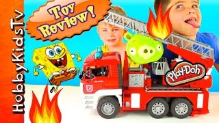 getlinkyoutube.com-SpongeBob Firetruck! Bad Piggie on FIRE + Krabby Patty Wagon, Toy Review HobbyKidsTV
