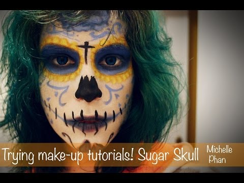 Trying Make-up tutorials! - Michelle Phan - Sugar Skull (calavera mexicana).