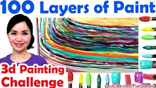 getlinkyoutube.com-Top art challenge : 100 LAYERS OF PAINT 3d painting | Unboxing gold play button!
