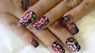 getlinkyoutube.com-Decoração unhas preta e nude e Florzinha de carga dupla com traços