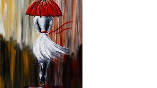 getlinkyoutube.com-Girl in the Rain | Umbrella Art  | Beginner Acrylic Painting Lesson