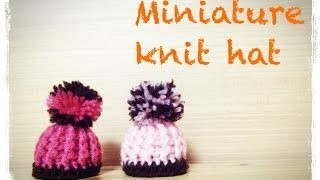 getlinkyoutube.com-ミニチュア ニット帽の編み方 How to crochet a miniature knit hat  by meetang