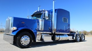 getlinkyoutube.com-Legendary Blue Metallic 2017 Peterbilt 389 550 Cummins 23 gauges Platinum Interior