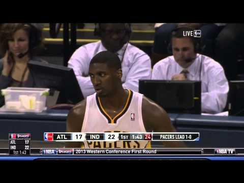 Roy Hibbert Dunks All Over Ivan Johnson