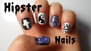Hipster nails tutorial galaxy ying yang cross youtube prinsesfo Choice Image