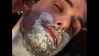 getlinkyoutube.com-Straight Razor Shave - Barber Shaves Beard Off