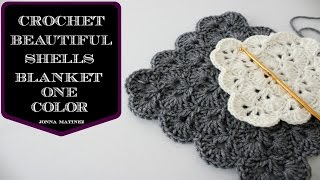 getlinkyoutube.com-How To Crochet A Beautiful Shells Blanket In One Color