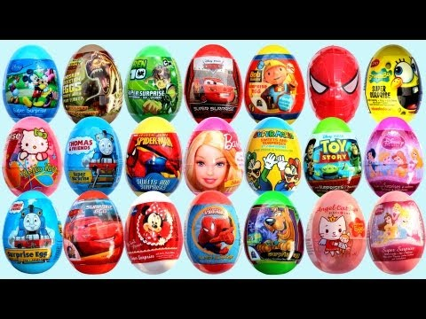 24 Surprise Eggs Kinder Surprise Mickey Mouse Cars 2 Minnie