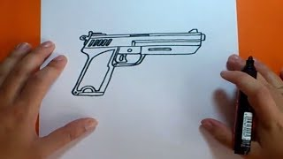 getlinkyoutube.com-Como dibujar una pistola paso a paso | How to draw a gun