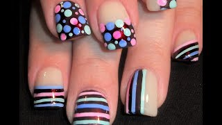 getlinkyoutube.com-Cute Polka Dots & Stripes on Chocolate Nails | FUN Short Nail Art Tutorial