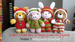 getlinkyoutube.com-Oso, gato, chancho y conejo bebés en pijamas (crochet-amigurumi) Parte 1