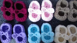 getlinkyoutube.com-My Easy Crochet Petite Baby Mary Jane Ballerina Slippers With Bows (3 inch sole) includes bloopers