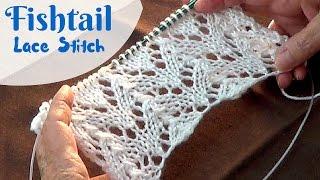 getlinkyoutube.com-Fishtail Lace Stitch | Knitting Fish Tail Lace Pattern