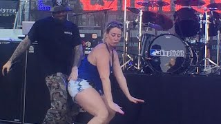 getlinkyoutube.com-Limp Bizkit - Fred Durst & Girl Dancing to a sick Trap Remix of 'Back Porch' @ShipRocked 2015