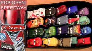 getlinkyoutube.com-Cars 2 Pop Open Speedway Race Case Playset Disney Pixar Playcase Toys Review by Blucollection