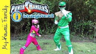 getlinkyoutube.com-Real Life Power Rangers Mighty Morphin Imaginext TOYS! Yellow Saber Tooth Zord My Kawaii Family