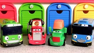 getlinkyoutube.com-Tayo the Little Bus Garage Disney Cars Circus Cab, Pit Crew Mack, Terry Gong 타요 꼬마버스 타요 중앙차고지. 디즈니카