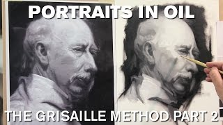 getlinkyoutube.com-Painting the Portrait: The Grisaille Method in Oil Part 2