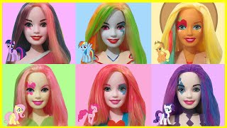getlinkyoutube.com-Play Doh Rainbow Dash Pinkie Pie Applejack Rarity Fluttershy Twilight Sparkle - Barbie Styling Head