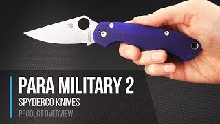 getlinkyoutube.com-Spyderco Knives Para Military 2 CPM S110V Blue G10 Folding Knife Overview