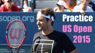 getlinkyoutube.com-Roger Federer Practice | US Open 2015 | Court Level View