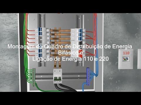 Como montar Quadro de Distribuição de Energia Bifásico e ligar 110 e 220 Volts