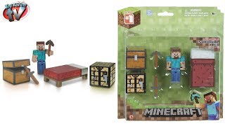 getlinkyoutube.com-Minecraft Overworld Survival Pack Crafting Mod Block Steve Playset Toy Review Unboxing