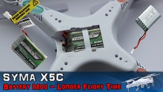 getlinkyoutube.com-Syma X5C - Battery Mod Longer Flight Time To 15 Min. Hack Step by Step (2 of 3) How To PL 4K X5C-1