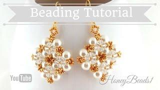 getlinkyoutube.com-Winterglow Earrings Beading Tutorial by HoneyBeads1 (with pearls)