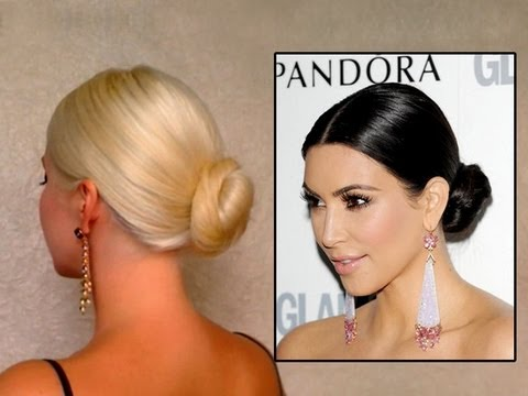 Kim Kardashian bun hair tutorail: elegant sleek updo hairstyle for long hair classic how to