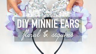 getlinkyoutube.com-DIY: BLUE AND SILVER FLORAL MINNIE EARS | theroyalhiness