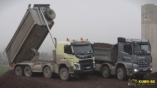 getlinkyoutube.com-Volvo FMX and Mercedes Arocs tipper trucks - unload quarry stone