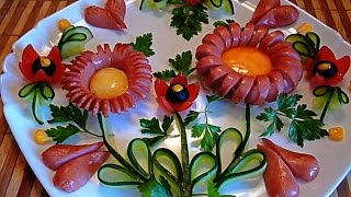 getlinkyoutube.com-Украшения из сосисок! Decoration of sausages! Украшения из овощей! Decoration of vegetables!