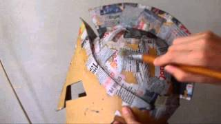 getlinkyoutube.com-#47: 300 King Leonidas Helmet DIY part 3: Cardboard, Paper Mache