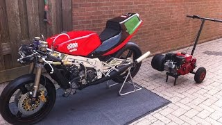 Firing up Aprilia AF1 250cc V-Twin Rotax 258 ,  1989 , Framenumber 0002 ,  after restoaration :-)