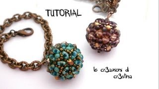 getlinkyoutube.com-Tutorial Sfera Rivestita con Twin Beads / Superduo, Bicono e Perle Swarovski - Beaded Bead