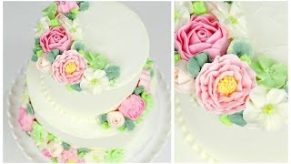 getlinkyoutube.com-Buttercream Flower Wedding Cake Tutorial - CAKE STYLE