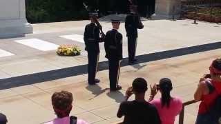Tomb of the Unknown Solider-Guard Calls Out Crowd