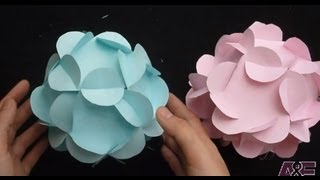 getlinkyoutube.com-Extremely Easy Way To Make A 3D Paper Flower Ball Tutorial