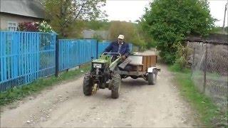 getlinkyoutube.com-ЗУБР Q79E Перевозка песка, огромная помощь от рулевой тяги, и опорное колесо!