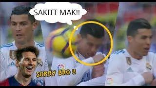 Reaksi Cristiano Ronaldo Saat Wajahnya Terkena Tendangan Lionel Messi