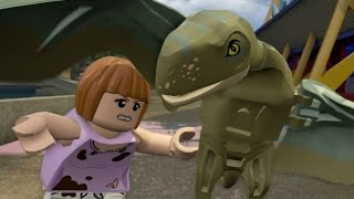 getlinkyoutube.com-LEGO Jurassic World - 100% Level Guide #9 - Under Attack (All 10 Minikits/Amber Brick)
