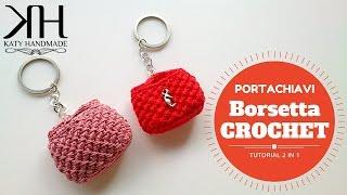 getlinkyoutube.com-Borsa crochet portachiavi | Keychains crochet bag || Katy Handmade