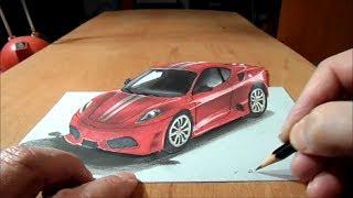 getlinkyoutube.com-Drawing Ferrari, 3D Trick Art Graphic