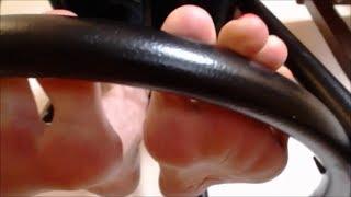 getlinkyoutube.com-Foot fetish bar stool sexy tease creamy veiny feet socks red toes