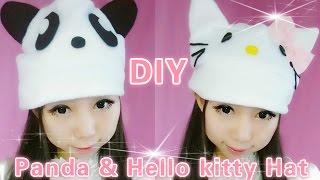 getlinkyoutube.com-DIY  Panda and Hello Kitty Hat (easy)