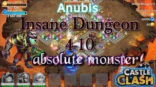 Castle Clash Anubis in Dungeon 4-10_ Insane power!