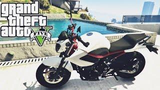 getlinkyoutube.com-GTA V ROLE DE YAMAHA XJ6 N WHITE AND RED- MOD MOTO