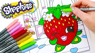 getlinkyoutube.com-SHOPKINS Coloring Book Strawberry Kiss Speed Coloring With Markers
